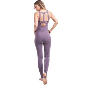 Purple harmony onesie cutout jumpsuit